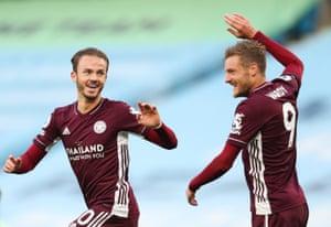 Maddison celebrates scoring Leicester's fourth.