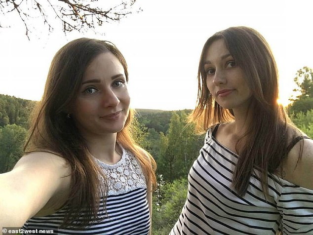 Ksenia (left) and Natalia (right) were enjoying a late picnic at picturesque Mount Uktus near Yekaterinburg when he used night vision to track and shoot them each three times