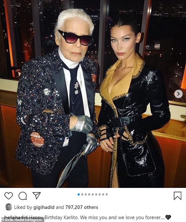 'Miss you': Hadid kept the fashion parade going on her IG feed on Thursday, when she marked what would have been the 87th birthday of German fashion designer Karl Lagerfeld