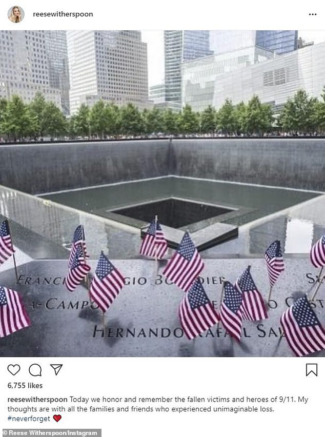 'Today we honor': Reese made a tribute post with an image of the 9/11 memorial at the base of where the World Trade Center towers stood before the attacks