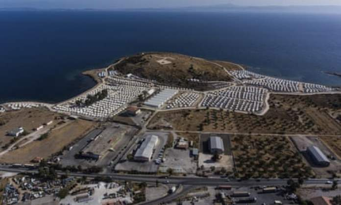 The temporary refugee camp in Kara Tepe is seen from above on 28 September.