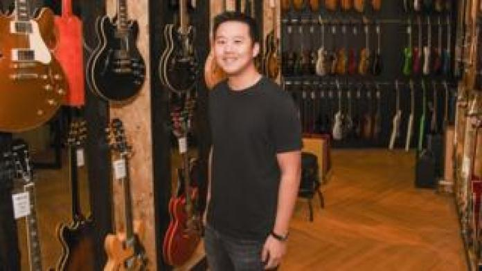 BandLab CEO Meng Ru Kuok in a Swee Lee music shop.