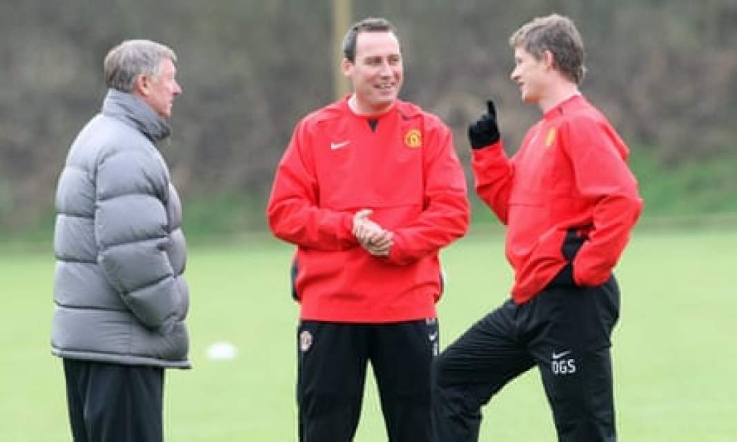 Sir Alex Ferguson and coach René Meulensteen with Ole Gunnar Solskjaer during training at Manchester United's Carrington base in 2007
