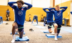 Dominic Calvert-Lewin (left) alongside Leicester's Harvey Barnes during the England team recovery session at St George's Park on Monday.
