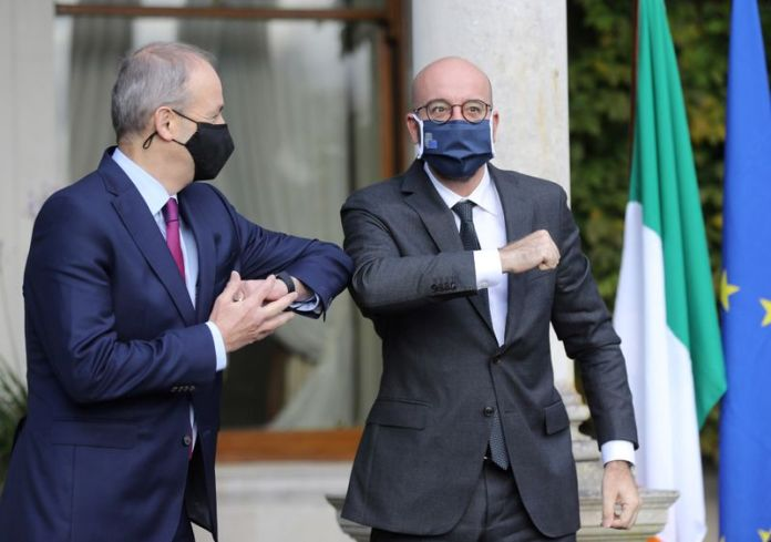 © Reuters. Ireland's Prime Minister Micheal Martin meets with European Council President Charles Michel at Farmleigh House in Dublin