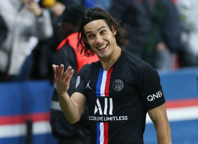 Edinson Cavani of PSG celebrates the victory with the supporters following the Ligue 1 match between Paris Saint-Germain (PSG) and Montpellier Herault SC (MHSC) at Parc des Princes stadium on February 1, 2020 in Paris, France.
