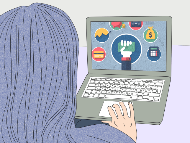 Woman looking at online banking