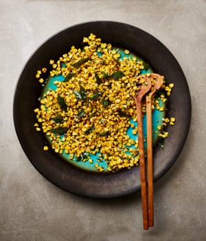 Yotam Ottolenghi's corn salad with coconut and curry leaves.