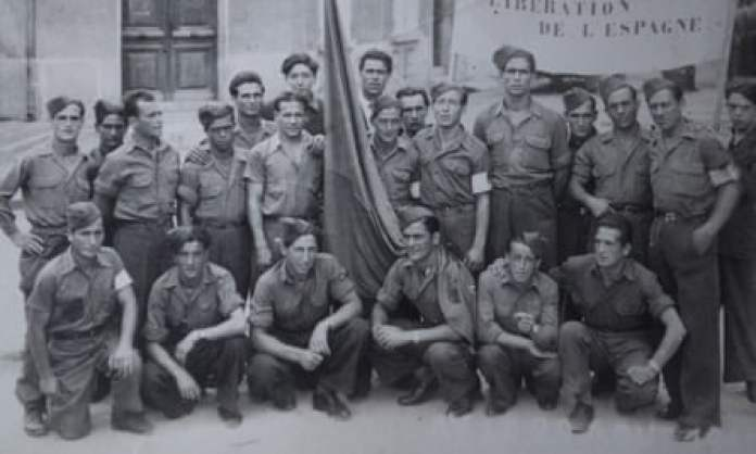 A group of Spanish survivors of the Nazi camps that were established in the French town of Ay. Juan Romero is standing, fifth from the left.