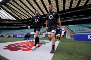 Brad Barritt and Chris Robshaw come out for training before their Six Nations match at home to Wales at Twickenham in February 2012