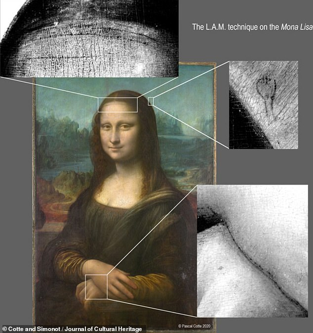 French researchers used a high-resolution camera that can capture light from beyond the visible spectrum to study the masterpiece is unprecedented detail. Pictured: the spolvero dots and hidden details seen under the Mona Lisa using a high-resolution, multispectral camera, along with the so-called 'layer amplification method', or LAM, to pick out the faint marks