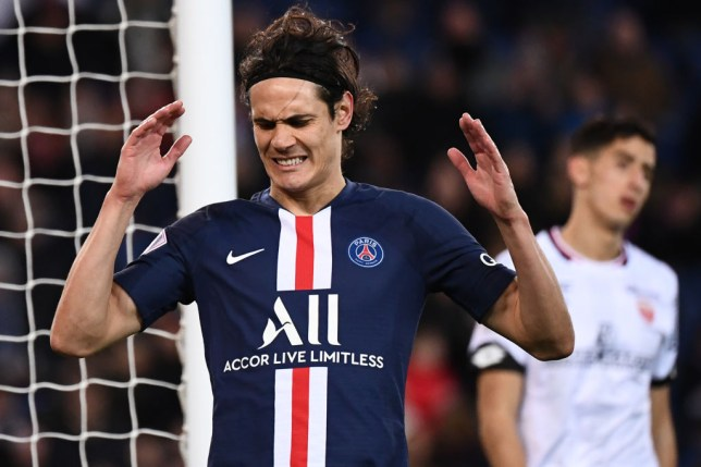 Paris Saint-Germain's Uruguayan forward Edinson Cavani reacts after missing a goal opportunity during the French L1 football match between Paris Saint-Germain (PSG) and Dijon, on February 29, 2020 at the Parc des Princes stadium in Paris.