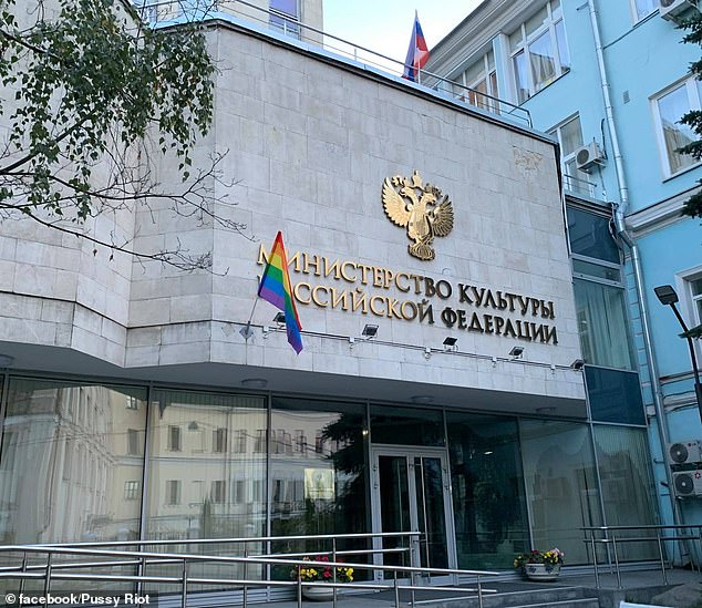 In an alternative celebration of Putin's 68th birthday, Russian activist group Pussy Riot unfurled rainbow flags on key Moscow government buildings to highlight LGBTQ issues