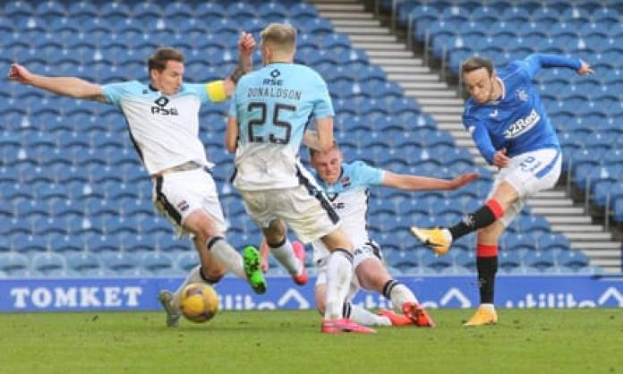 Brandon Barker makes it 2-0 for Rangers against Ross County at Ibrox.