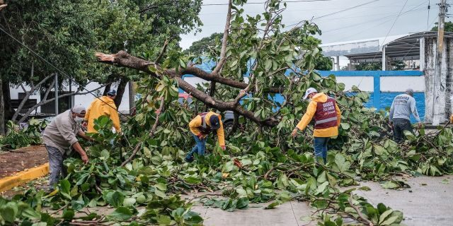 Damage in Cancun on Oct. 4, 2020, after Tropical Storm Gamma lashed Mexico.