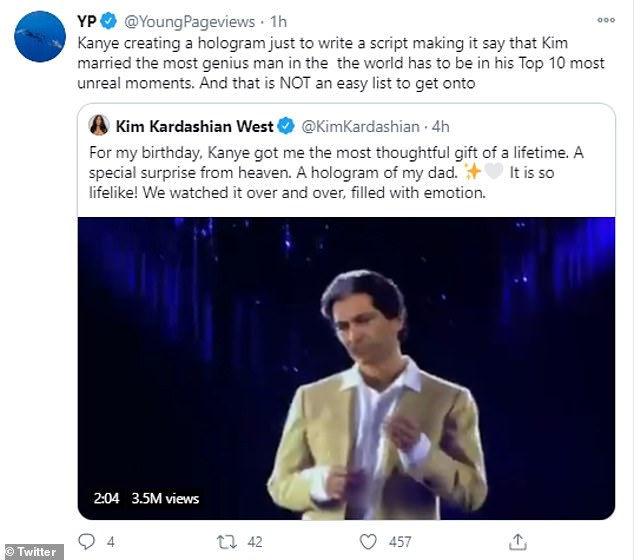 Yikes:But a huge topic on social media happened to be when the hologram referred to Kim's husband Kanye as a 'genius' during its heartfelt birthday speech to Kim