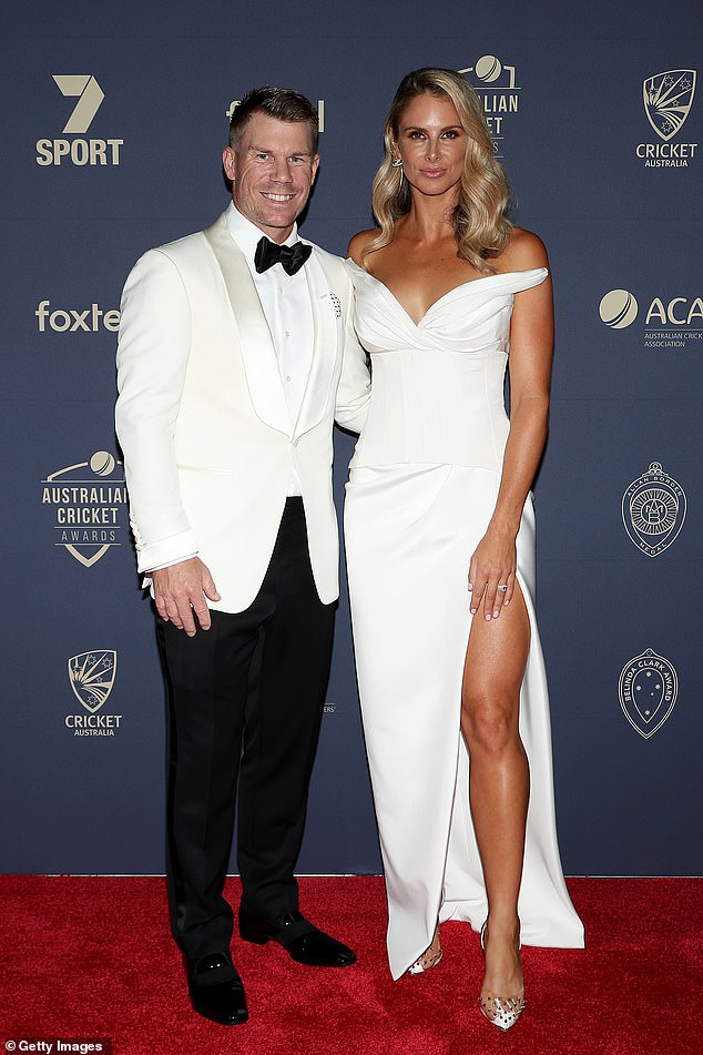 'I wasn't on the show to talk on behalf of him': Elsewhere in the interview she bristled when asked about her husband David's involvement in the 2018 ball-tampering scandal. Candice and David are pictured together in February 2020