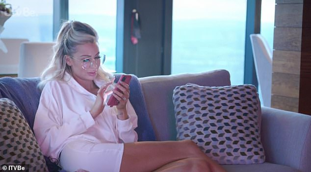 Distrustful: On her new show on Sunday night, Olivia Attwood revealed she checks her fiancé Bradley Dack's phone every night after he goes to bed