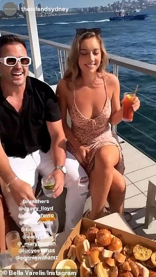 Fun! On Sunday, Bella and Bec were joined on the harbour with former Bachelorette star Davey Lloyd (left).