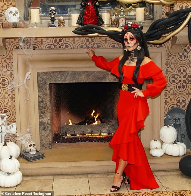 Lovely in red:'Thank you to my wonderful bestie & all my beautiful girlfriends for throwing such an a spooktacular bash for me. It was truly epic!' she sai