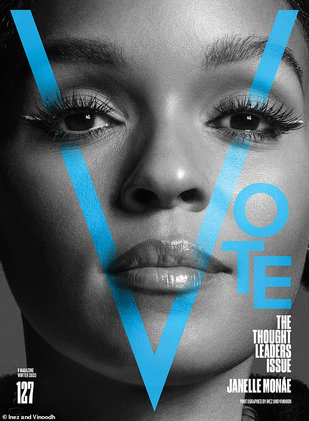 Fight fair:Janelle Monae touched on problems with voter suppression and gerrymandering - the practice of manipulating district boundaries for political gain - in her message, saying: 'I will be voting against racist policies and tactics that have continued to oppress and traumatize Black people'