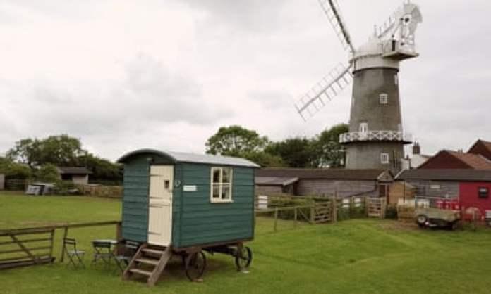 Bircham Windmill exteriod with shepherd's hut