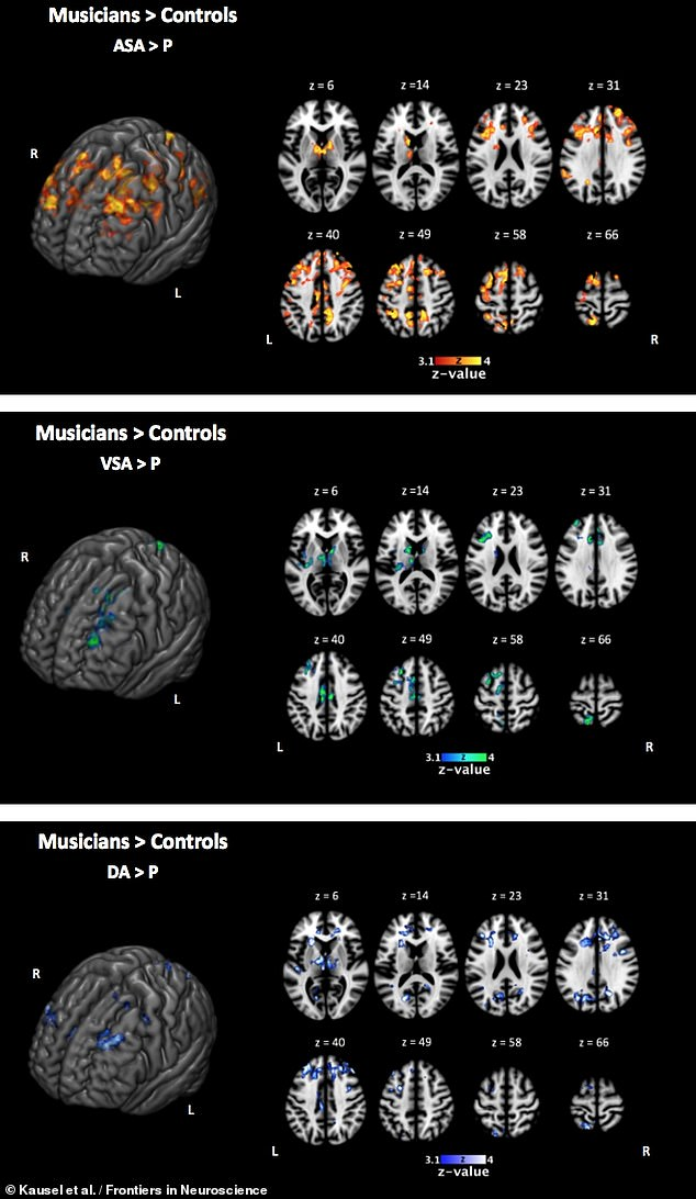 To determine activity associated with paying attention, the team took MRI data from the 'passive' trials — when children passively observed the stimuli — and from 'active' trials, when children paid attention to the images and sounds