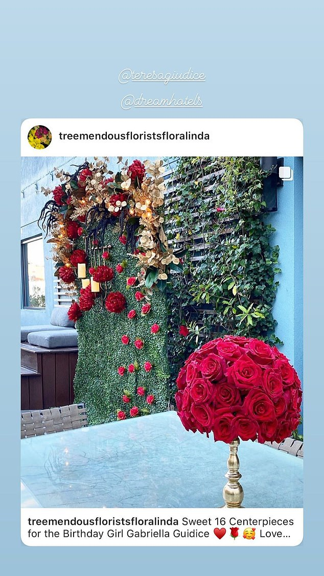 For a princess:The party at the Dream hotel looked lavish with a red and black theme and red roses everywhere