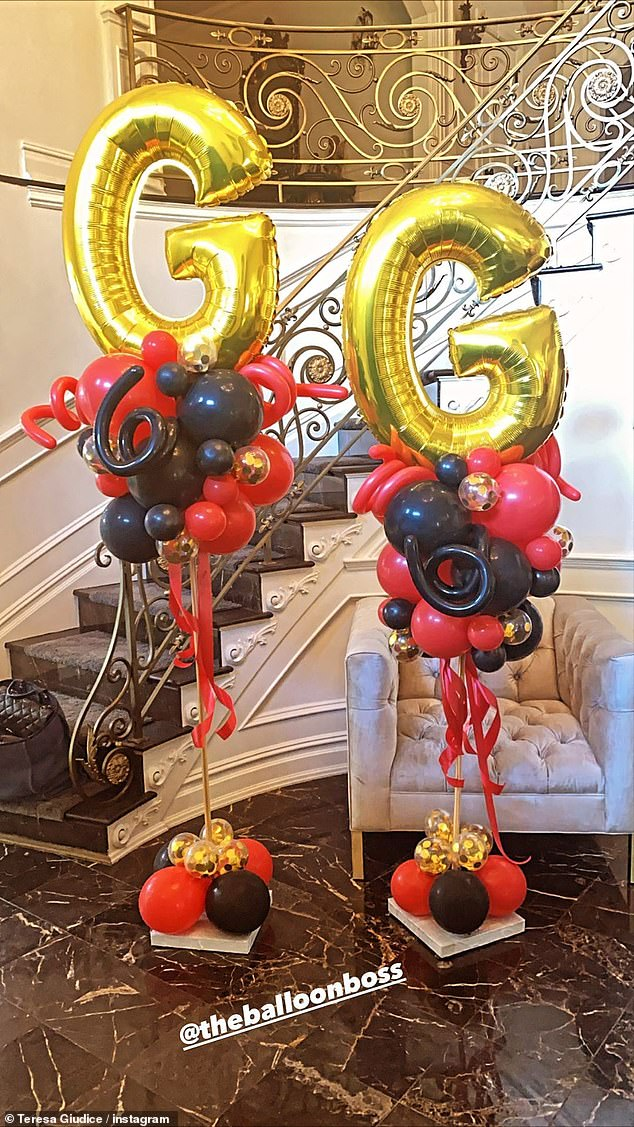 Fancy:And in the posh entrance way of the large home there were gold Mylar balloons that read G G and 16