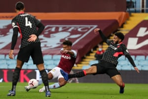 Aston Villa's English striker Ollie Watkins scores their second goal.