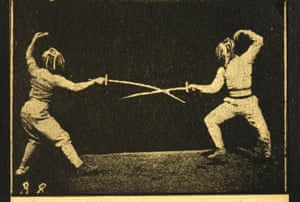 A scene from Le Bâton, a flipbook capturing fencers in action
