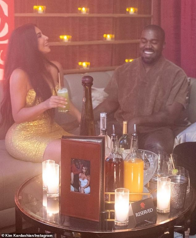 Kim married West in 2014 and they have since welcomed daughters North, seven, and Chicago, two, and sons Saint, four, and Psalm, one. Kanye and Kim are pictured at her birthday party