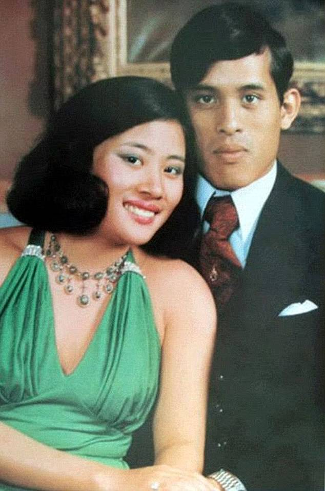 Vajiralongkorn wed his first cousin Soamsawali Kitiyakara (left) in January 1977 but nine months after she gave birth to his daughter the prince had a son with actress Sujarinee Vivacharawongse