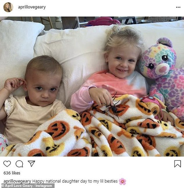 Growing family: Geary and Thicke have seen their family grow by two since February 2018; daughters Lola, one and Mia, two are pictured in a post last week