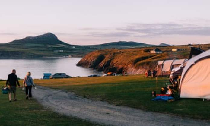Pencarnan camping with sea and hills