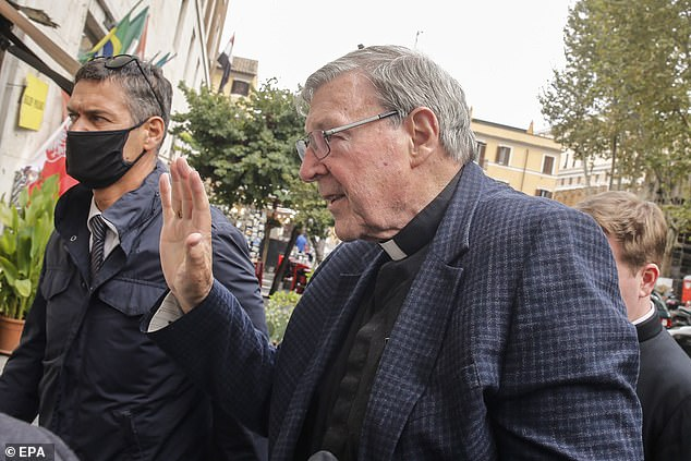 Cardinal George Pell arrives at his residence in Rome, Italy, on September 30