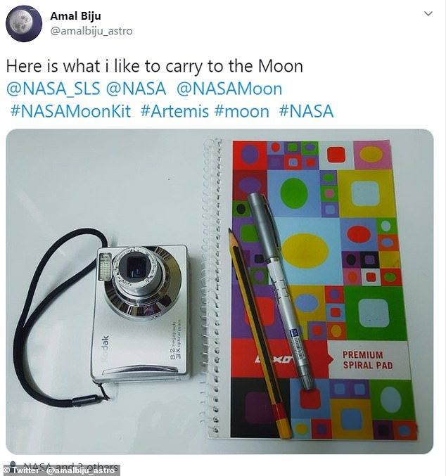 Items people want to take to the Moon range from the simple - cameras and notebook - to the more elaborate including musical instruments and a Nintendo Switch