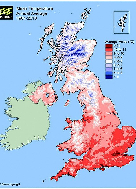 This is the mean average temperature between 1981 and 2010 for the UK