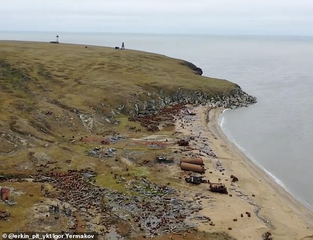 Vladimir Sleptsov, 50, suffered head, arm and leg injuries in a brawl with the angry beast on Bolshoy Lyakhovsky island (pictured) in the Arctic