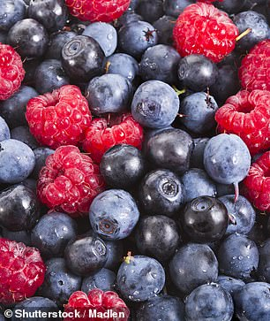 'In the British diet, the main sources [of flavanols] are tea, cocoa, apples and berries,' Professor Kuhnle added. Pictured: mixed berries