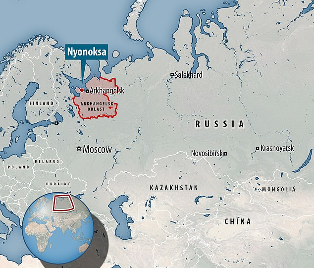 Last year radiation levels soared in settlements around the testing site at Nyonoksa (pictured) on the White Sea