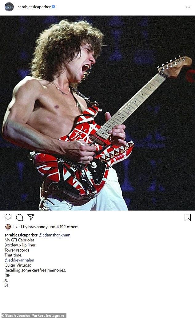 Memories: Sarah Jessica Parker looked back on her fond recollections regarding Van Halen