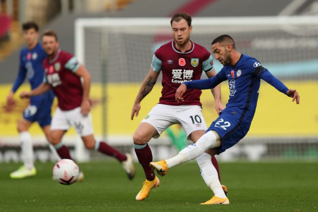 Hakim Ziyech passes the ball during Chelsea's Premier League clash with Burnley