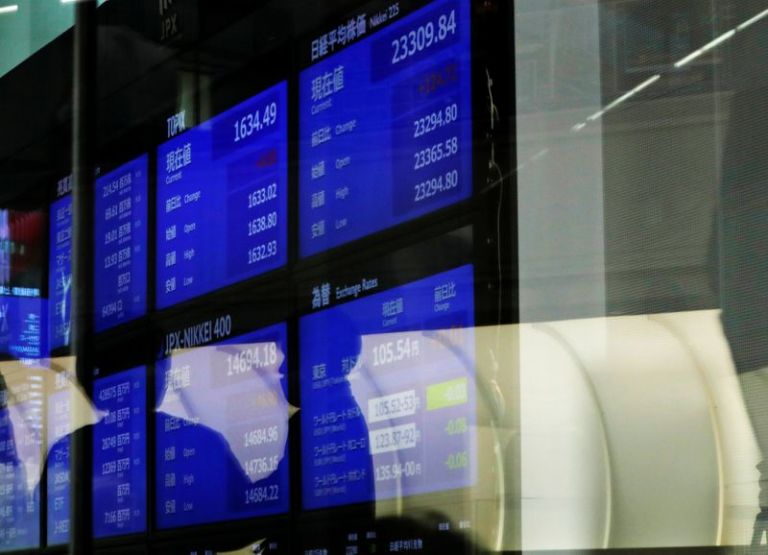 Asian shares at near three-year peak; dollar, U.S. yields head south