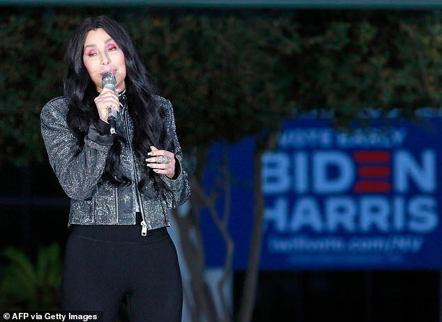 'It will be the happiest day of my life': Cher is hopeful for a potential Joe Biden victory (pictured October 2020)