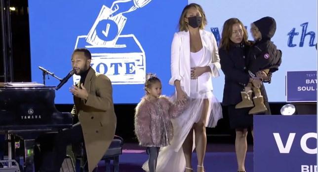 John Legend, Chrissy Teigen and children at Joe Biden rally