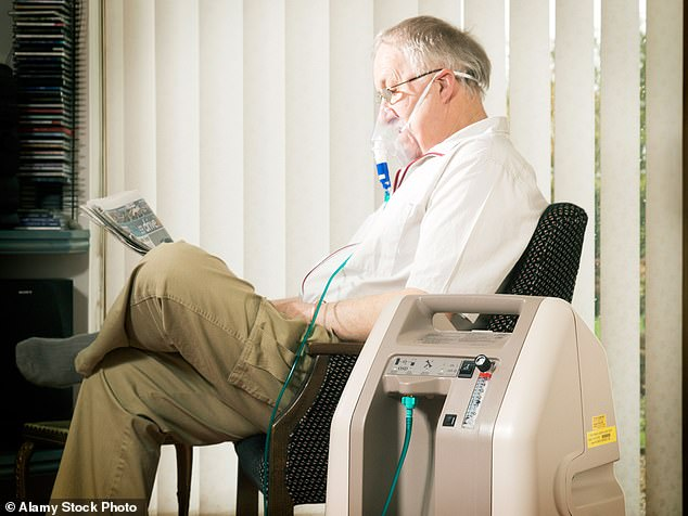 The FDA warns that using oxygen concentrators at home can lead to breathing in too much oxygen, which can damage the lung tissues and small air sacs of the lungs (file image)