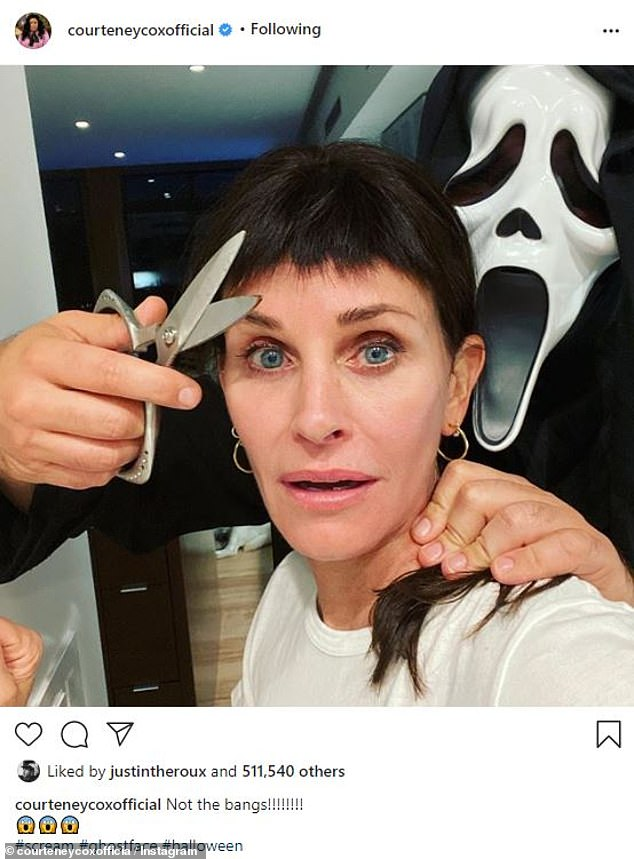 Courteney Cox jokes: 'Not the bangs!' as Ghostface holds scissors to her hair on Halloween
