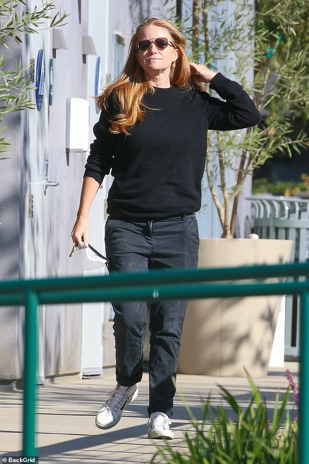Keeping things casual:Patsy Palmer cut a casual figure as she headed for a coffee run at Blue Bottle Coffee Company in Malibu, California on Friday