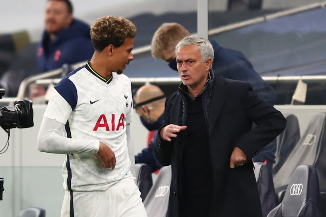 Dele Alli and Jose Mourinho in discussion during Tottenham's Europa League clash